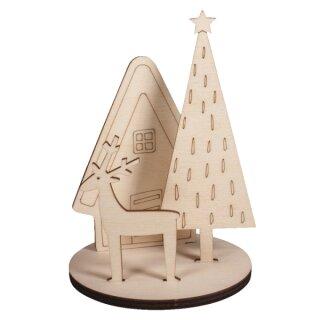Holz Steckteile Winterhome 4-teilig, 1 Set