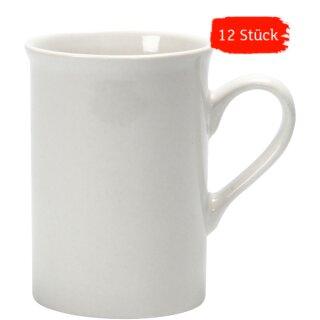 Becher Tasse, 12er-Set, aus weißem Porzellan