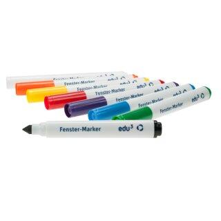 edu3 Fenster Marker, intensive Farben, 8er-Set