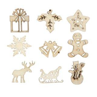 Holz Dekoration Weihnachten, 45 Stück sortiert