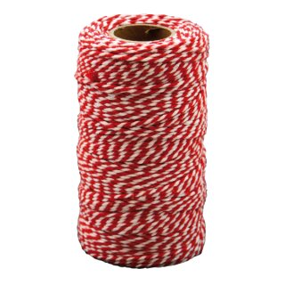 Baumwollkordel rot/weiß, 100 m Rolle