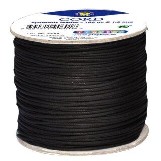 Kunstlederschnur schwarz, 100 m Rolle
