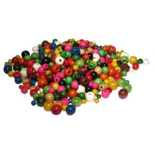 Holzperlen mit Lochbohrung, bunt sortiert, 592 Perlen
