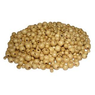 Holzperlen mit Lochbohrung, natur sortiert, 592 Perlen