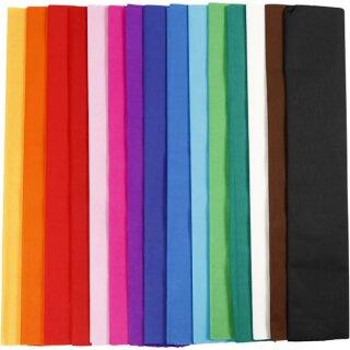 Krepppapier Sortiment in Lagen, 15 Farben sortiert