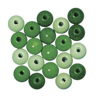 Holz Perlen Mischung FSC 100%, 12mm ø, poliert, SB-Btl 32Stück, grün Töne