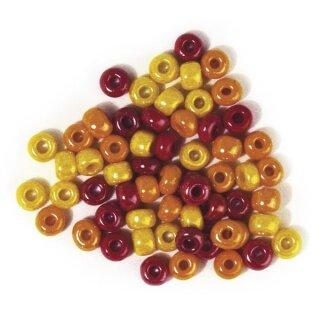 Glas-Großlochradl, opak, rot-gelb Töne, ø 5,4 mm, Dose 55g