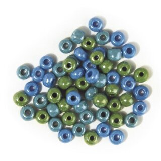 Glas-Großlochradl, opak, grün-blau Töne, ø 6 mm, Dose 55g