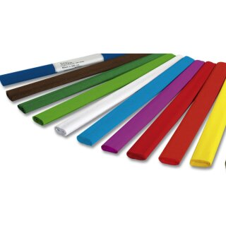 Krepppapier 50 x 250 cm,50 Rollen in 10 Farben sort.