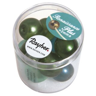 Renaissance Glaswachsperlen, halbtransp., 14 mm, m.Großloch, Dose 12 Stück, grün Mix