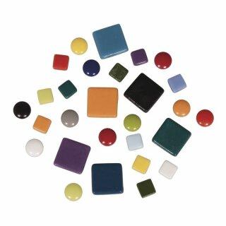 Mosaiksteine-Mischung (ca.395 St.), 10x10mm, 20x20mm, ø 12mm, Eimer 500g, Bunt