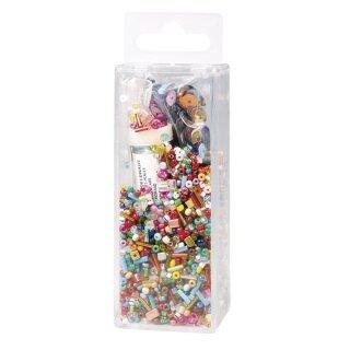 Pailletten-,Glasperlenmix und Draht, 90g Mix u. Draht 50m x 0,3mm