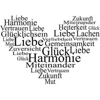 Stempel ,  Herz - Liebe,Glück, Harmonie ...,5x7 cm