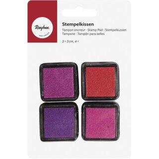 Mini-Stempelkissen Set - Girls, 3x3cm, pink/rot Töne, SB-Blister 4Stück