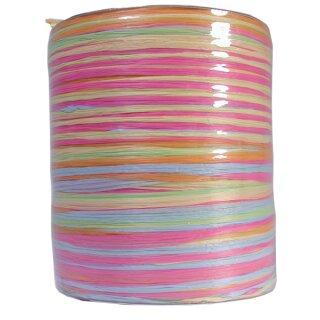 Raffia-Multi-Bast, pastell Farben, 50 m Rolle