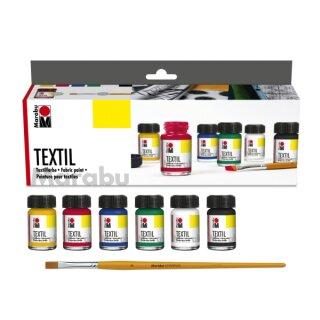 Textil Grundfarbensortiment (Marabu) 6 Farbtöne à 15 ml