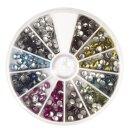 Hotfix-Nieten, 4 mm, Sortierbox 600 St., 12 Farben je 50 St., bunt