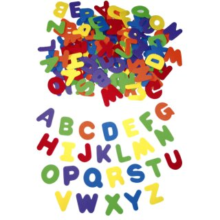 Moosgummi Große Buchstaben, 4,5 - 5 cm groß, 130 Stück in 6 Farben von Eduplay, derzeit kein Lila enthalten (Ersatz schwarz)