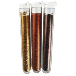 Fein-Flitter, Blisterkarte, 3 Farben à 3 g, Braun-/Goldtöne