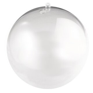Plastik-Kugel, 2 tlg., 16 cm, mit 15 mm Loch für LED Kette, kristall