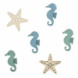 MDF Streuteile Seesterne+Seepferde, 3cm, 2 Designs, 3 Farben, SB-Btl 15Stück