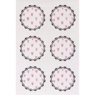 Sticker rosa Herzen, 3,5cm ø, SB-Btl 24Stück