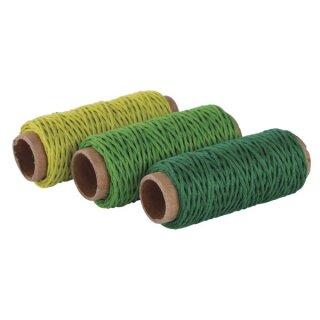 Hanfkordel-Set, 1mm ø, 3 Farben á 12m, SB-Btl 36m, grün Töne