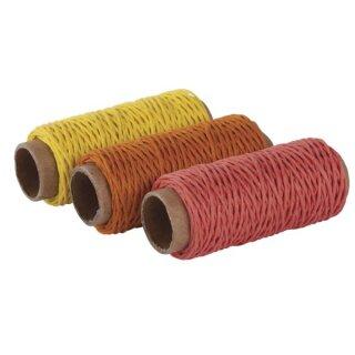 Hanfkordel-Set, 1mm ø, 3 Farben á 12m, SB-Btl 36m, gelb,orange,rot