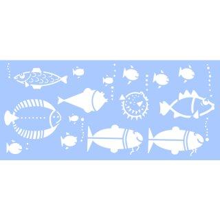 Schablone für Glas Tattoos, Fish Family, 15 x 33 cm