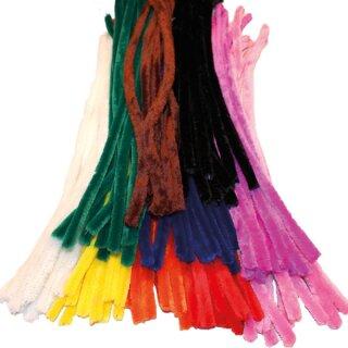 Pfeifenputzer Chenilledraht 50 cm lang, 100 Stück in 10 Farben sortiert