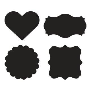 Set Tafelfolien-Sticker, sort.3x4 Motive,ø6-7,5cm, SB-Btl 12Stück