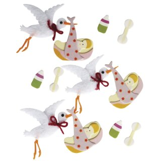 Deko-Sticker: Baby Storch, m. Klebepunkt, SB-Btl 12Stück