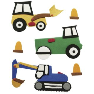 Deko-Sticker: Bagger/Traktor, m. Klebepunkt, SB-Btl 6Stück