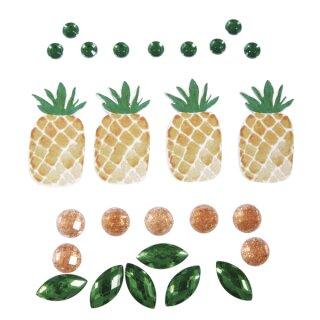 Deko-Sticker: Tropic-Ananas, sort. 0,5-3,5cm, SB-Btl 26Stück