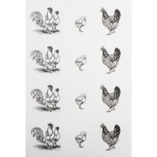 Deko-Abziehmotive Hühnerfamilie, Bogen á 12 Stück, SB-Btl 2Bogen