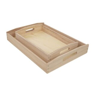 Holz-Tablett-Set, 2 Größen, 30x20 cm, 39x28 cm