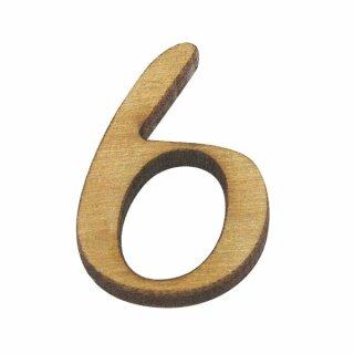 Holz-Zahl, 2 cm, 6