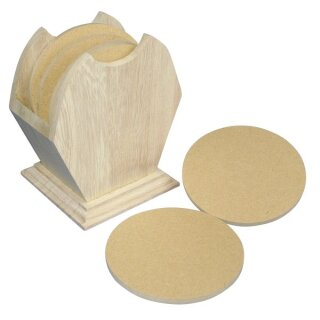 Holz Box FSC Mix Credit, 10cm ø, mit 6 runden MDF-Untersetzern
