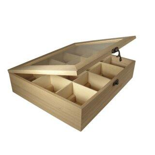Holz-Teebox,12 Fächer, FSC Mix Credit, 28,5x23,5x7cm, Fächer je 6,5x7cm