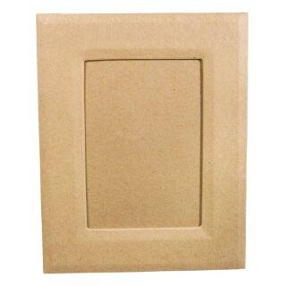 Pappmaché Bilderrahmen,FSC Recycled 100%, 19x24x0,7cm, mit Aufsteller+Aufhänger