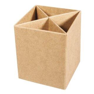 Pappmaché Stiftebox,FSC Recycled 100%, 8x8x10cm, mit Unterteilungen