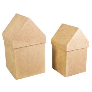 Pappmaché Boxen Häuser,FSC Recycled 100%, 2 St.: 13,3x13,3x23cm + 11,5x11,5x20cm