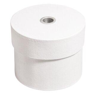 Pappm.Box rund, FSC Rec. 100%, 10x8cm, m. Alu-Kerzeneinsatz ø1,4cm, weiß