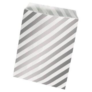 Papiertütchen Lebensmittelecht, Silberfolie gestreift, SB-Btl 15Stück, 12,9x16,8cm
