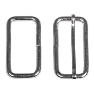Metall- Element eckig f. Gurt 3,8cm, 4,5x2,4cm, mit/ohne Steg, SB-Btl 2Stück, silber