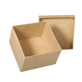 Pappmaché Schachtel FSC Recycled 100%, 12,5x12,5x8cm, quadratisch