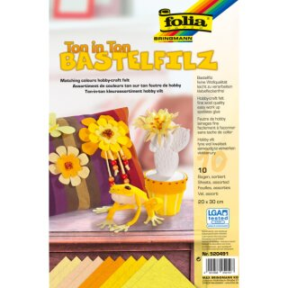 Bastelfilz 150g/qm gelb, 10 Blatt, 20 x 30 cm, TON IN TON Sortierung