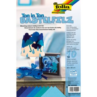 Bastelfilz 150g/qm blau, 10 Blatt, 20 x 30 cm, TON IN TON Sortierung