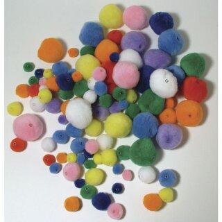 Pompons zum Auffädeln, , 4 Größen/Farben, SB-Btl. 100 Stück, gemischt