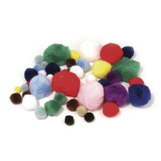 Pompons, SB-Btl. 100 Stück, Farben + Größen sortiert